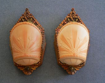 Pair of Antique Art Deco slip shade sconces made by Beardslee company