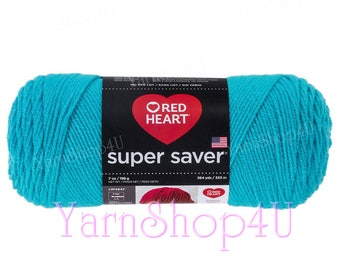 TURQUA, Red Heart Super Saver. Bright Blue. Solid Blue. Turquoise in color. 100% Acrylic. A Large 7oz | 364yd. Aran Weight. Heavy Worsted.
