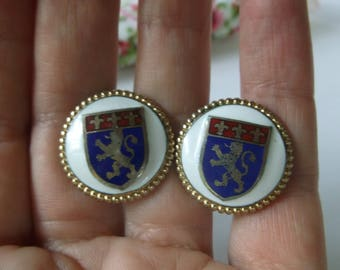 Vintage Coro Enamel Coat of Arms Shield 1950s Earrings with Clawed Lions, French Heraldic Fleur de Lis,  French Coat of Arms
