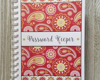 Alphabetical Internet Password Organizer with Divider Tabs - Pink Paisley Design