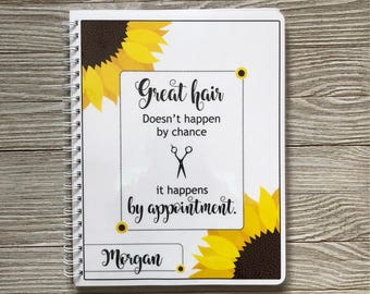 Salon Yearly Appointment Book with Income Tracking - Sunflower Design - Personalized