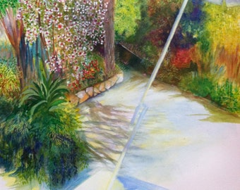 Watercolor garden / landscape/original watercolor / summer garden / nature / green / private garden.