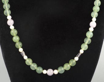 Chinese Vintage Green, Lavender Jade Beads, Pearls Necklace w/ 18K Gold Clasp