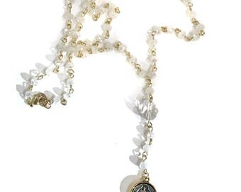 St Benedict White  Rosary Bead Long Necklace