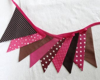 Garland of flags in fabric - Brown / Fuchsia