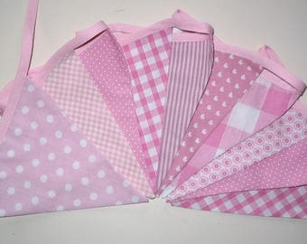 Fabric Garland - Pink / White