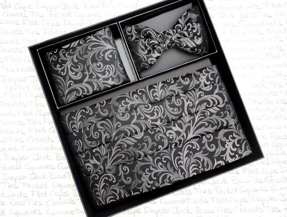 Black brocade cummerbund, bow tie and pocket square set