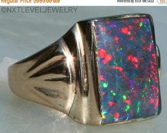 Antique 1920's Art Deco LARGE VERY Bright Rainbow RARE Black Natural Opal  10k Solid Yellow Men's Ring Reasonable Offers Are Welcome