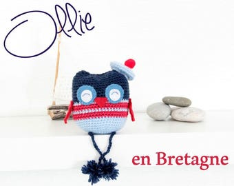 Navy crochet Amigurumi toy OWL OWL