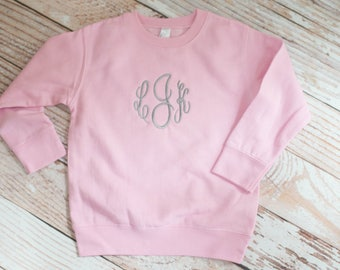 Pink Baby/Toddler Sweatshirt Personalized and Embroidered with Initials or Monogram