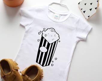 Baby Boy Shirt - Toddler Boy Shirt - Popcorn Tee - Toddler graphic shirt - Unique Baby shirt - Modern baby - Hipster baby