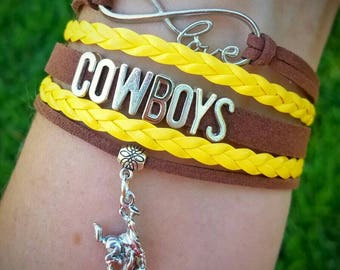 Wyoming Cowboys Inspired Faxu Leather Layered Bracelet - Brown and Gold - 307 - UW - Steamboat - Pokes - WYO - University of Wyoming