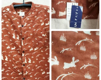 Vintage Cotton Print Rabbits Shirt Size M/ Made in Japan NWT