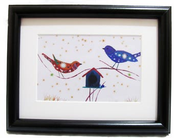 Love Birds- Art print from Original painting with Frame
