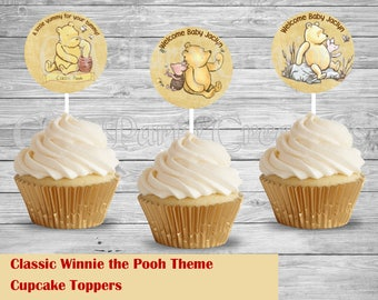 Classic Winnie the Pooh Baby Shower Cupcake Toppers