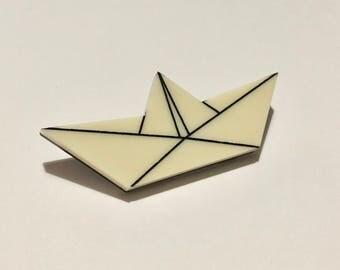 Origami boat brooch