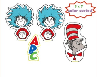 Seuss Cat in the Hat-Thing 1 - Thing 2 - ABC pencil toppers ith embroidery designs