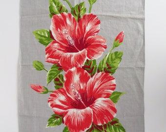 Vintage 70s  pure Irish linen Fiji Hibiscus souvenir tea towel