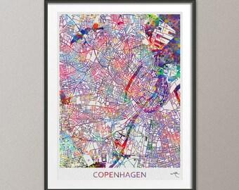 Copenhagen City Map Print Watercolor Art Print Wall Art Poster Denmark Travel Decor Wanderlust Decor Wall Hanging Copenhagen Gift [NO 806]
