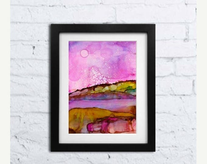 SALE Original Watercolor Painting-Mountains & Moon-Gift