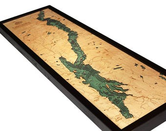 Lake George, NY Wood Carved Topographic Depth Map