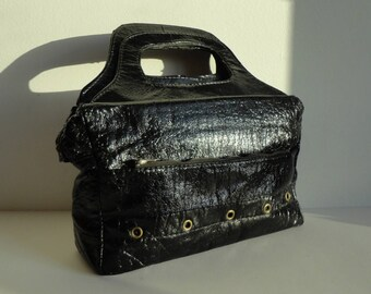 Cool Black 60s Vintage PVC Top Handle Bag With Rivets // Yellow/Orange Lining // Vegan Bag