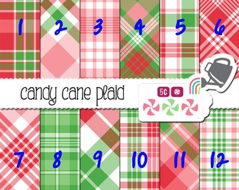 Candy Cane Plaid, Red and Green Plaid Adhesive Pattern Outdoor 651 Vinyl, HTV Heat Transfer Vinyl and Iron On Vinyl or Glitter HTV.