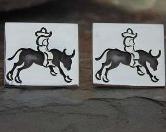 Vintage Mexican Sterling Silver Bull Riding Shadowbox Cuff Links with Toggle Backs c. 1940's