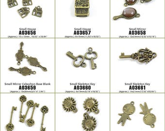 Jewelry Making Supply Charms Findings Small House Mirror Cabochon Base Blank Skeleton Key Smile Smiley Sun Face Sunflower Alien UFO ET