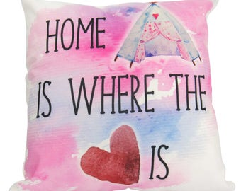 Home is Where the Heart is on Stark White - Pillow Cover