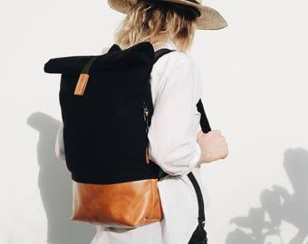 Black, Brown, Backpack, Leather Backpack, Rolltop Backpack, Fold Backpack, Real Leather Backpack, City Backpack, Gift for him, FOLD BACKPACK