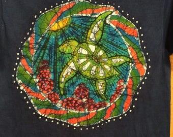 Lg. Blue handmade batik sea turtle t shirt