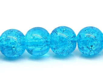 10 blue crackled glass beads 7 mm REF: 1 B 26181