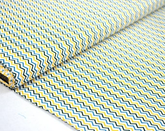 "Fabric ""Zig - Zag yellow / blue"" 100% cotton sold in multiples of 10cm by 150cm"