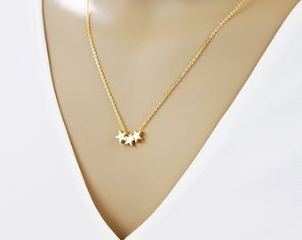 Tiny Gold 3 Stars Necklace . Bridesmaid Gift Bridesmaid Necklace Dainty and Delicate Necklace