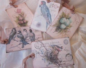 Large Birds NESTS Gift Tags Vintage Postcards  Glitter 5 ~ SPRING