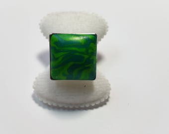 "Ring ""PC Green Marbled 2"""