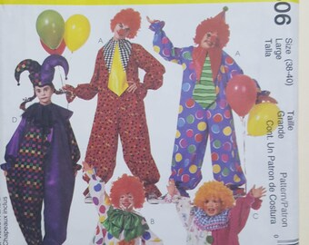 McCall's Clown Costume Size Large 38-40  #3306