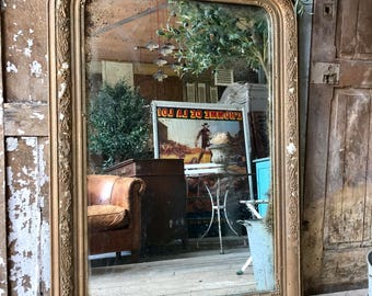 NOW SOLD - Beautiful, rustic, vintage French overmantle mirror