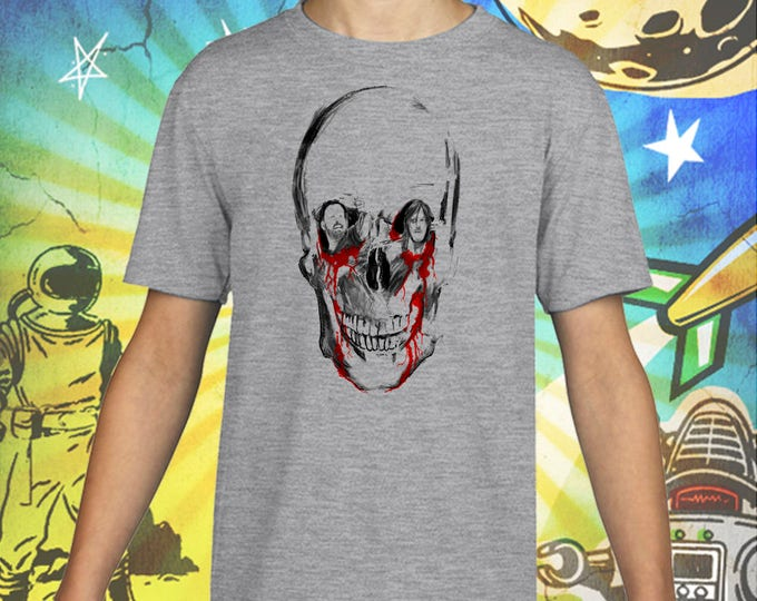 The Walking Dead / Rick Grimes / Daryl Dixon / Sitting in a Walker Skull / Gray Child Size Performance T-Shirt