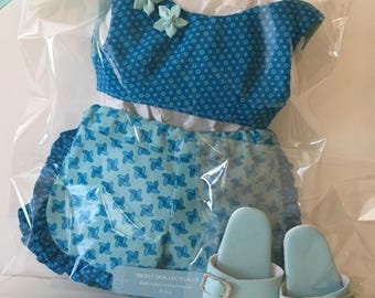 """Blue Aqua Ruffled Shorts and Top for 18"""" AG Doll"""