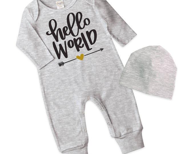 Newborn Girl Take Home Romper, Baby Girl Romper, Baby Girl Hello World Bodysuit, Gray Romper Cap, Hello World, TesaBabe RC810HGBK0000 Hello1