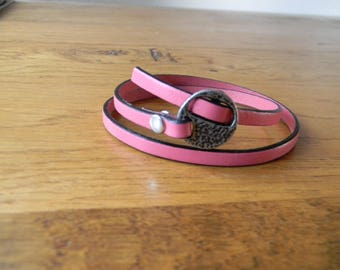 Leather Bracelet clasp from antique silver rose