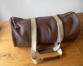 Handmade brown leather travel bag