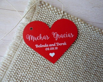 Muchas Gracias Tags, Spanish Thank You Tags, Custom Wedding Tags, Favor Tags. Bridal Tags. Quinceanera Tags. Set of 25 to 300 pieces