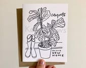 Congrats on Your New Home Fiddle Leaf Fig Houseplant Rainboots Letterpress Greeting Card Congratulations On Your Move New House