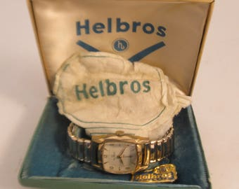Vintage Swiss Made 17 Jewel Working Watch Helbros  with Expansion band in Original Box