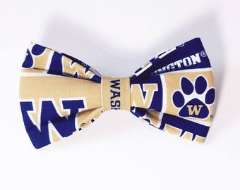 University of Washington Huskies Dog bow tie, Cat bow tie, fabric bow tie for dog/cat collars, pet bow tie, collar bow tie