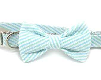 Blue and Green  Seersucker Dog Collar Bow Tie set, preppy, metal or plastic hardware, pet bow tie, collar bow tie, wedding bow tie