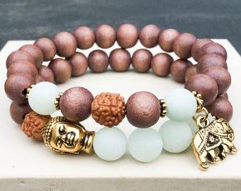 Women's amazonite wood rudraksha seed Buddha elephant stretch yoga mala meditation energy bracelet, Wildcoastjewels, Gift for her